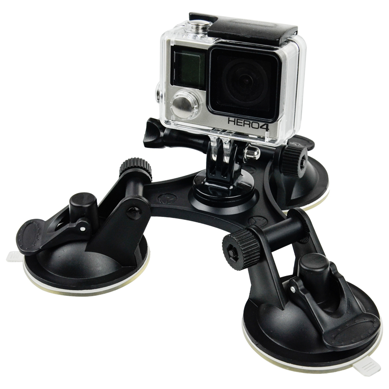 Action Camera Accessories Car Windshield Triple Vacuum Suction Cup Fat Mount for Xiaomi Yi Go Pro Hero 5 4 3 SJ4000 SJ5000