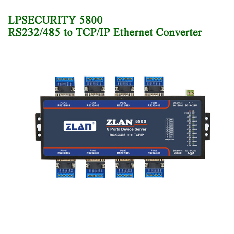 8 Port Serial To Ethernet Converter Devices Server/RS232/RS485 To TCP/IP Cascade Extension Network Configure IOT Data Transmit