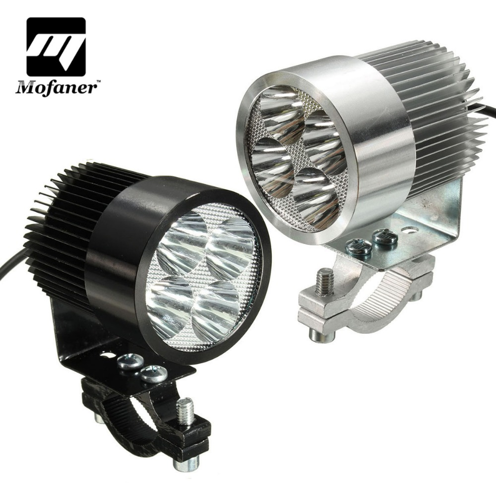 1 Piece Motorcycle ATV Headlight 4 LED Fog Light Spot Lamp 12W Driving Motorbike Headlamp LED Bulb Light Lamp Black Chrome