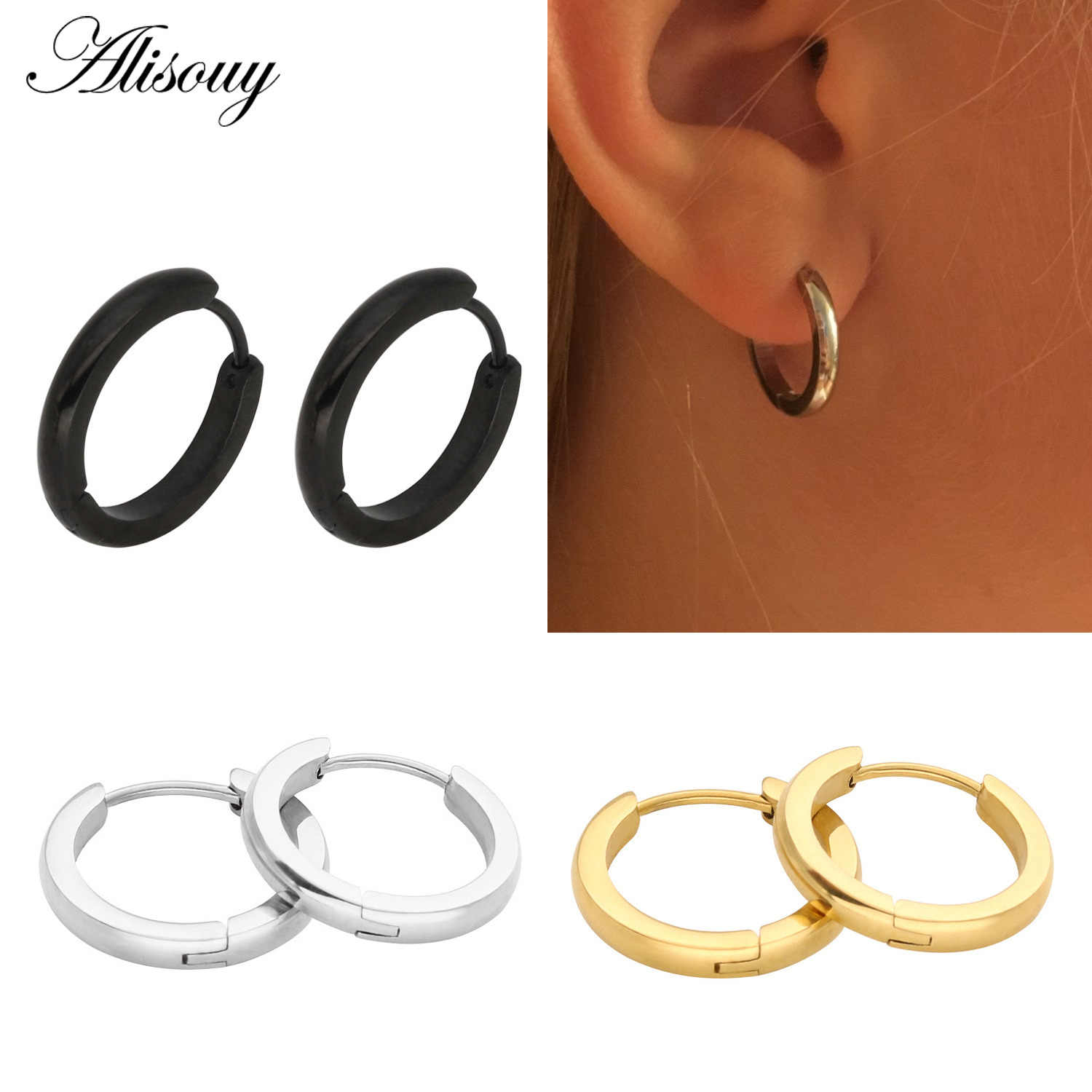 74ecb63ff Alisouy 2mm width 1Pair Mens Women Stainless Steel hip hop Helix Ear Circle  Hoop Earrings Huggies