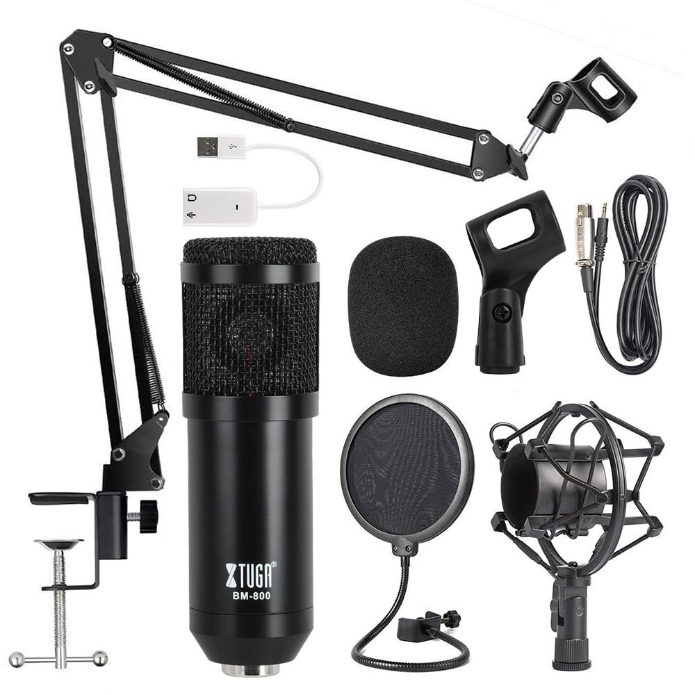XTUGA Professional BM-800 METAL Adjustable Condenser Microphone Kits Bundle for Computer Studio Recording