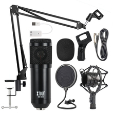 XTUGA Professional BM-800 METAL Adjustable Condenser Microphone Kits Bundle for Computer Studio Recording