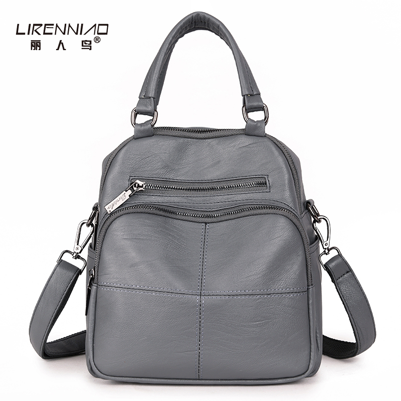 LIRENNIAO Famous Brand Women Backpack Multifunction School Bags Teenagers Girl Black Genuine Leather Backpacks Cross Body Bag гимнастический обруч алюминиевый а900 92см