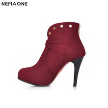 NEMAONE women ankle boots ladies fashion short boot winter footwear botas high heel shoes sexy snow warm shoes EUR size 34-43