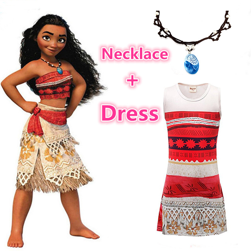 Moana Necklace and Dress set Cosplay Dress for Children Princess clothing Halloween Christmas Costumes for Kids Girl Vaiana Gift