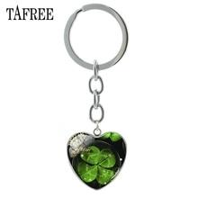 TAFREE счастливый клевер в форме сердца брелок бабочка брелок четырехлистный клевер популярный кабошон Высокое качество ювелирные изделия для подарка QF368