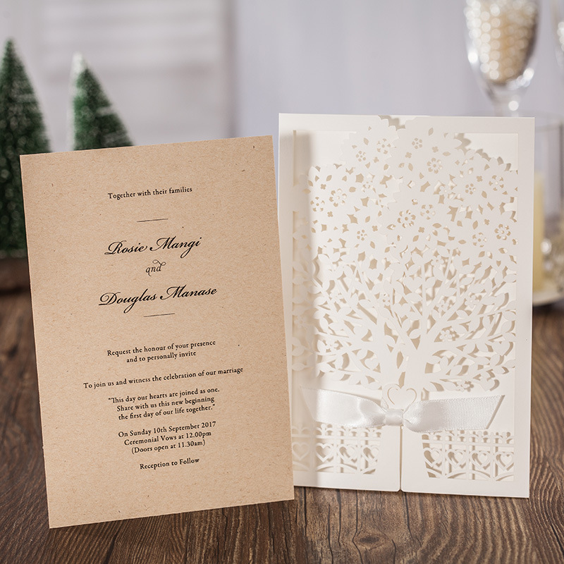 White Laser Cutting Trees Style Wedding Invitation cards, Single ...