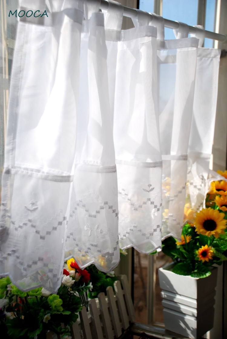 Korean Style Embroidered White Short Kitchen Curtain Tab