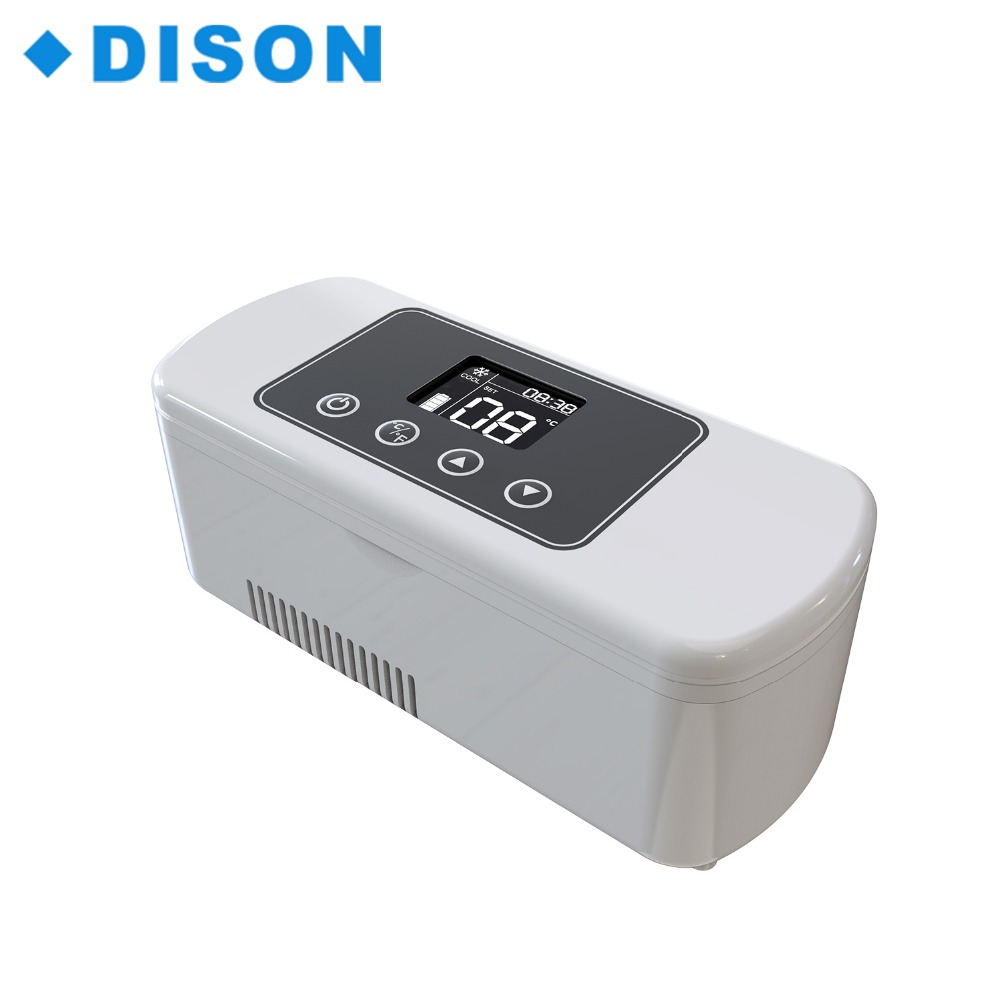 Dison Portable Mini Fridge Mini Cooler Insulin Cooler Mini Refrigerator Cooler Box Battery Powered Cooler Box mini usb heater cooler fridge silver