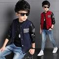 Novo 2016 Outono Meninos Moda Outwear Jaquetas De Couro Patchwork Casaco Crianças meninos Da Moda Primavera Motocicleta Tops para 5-14Y