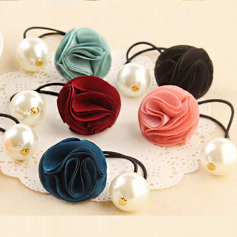 New Fashion Women Hair Accessories Elastic Hair Band Cloth Rose Flower Pearl Rubber Band Girl Hair Rope Ponytail Holder Ties Gum gorgeous faux feather elastic hair band for women