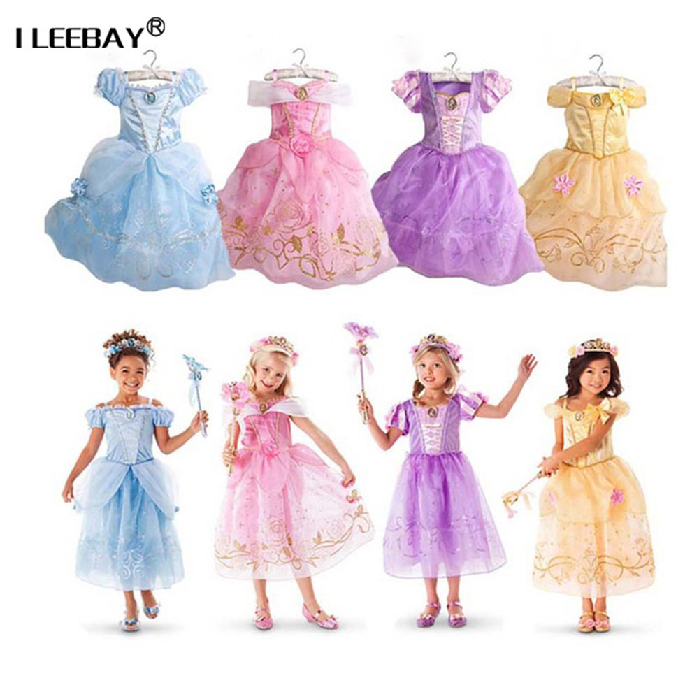 2018 Noël bébé filles princesse robes enfants Cendrillon Raiponce Aurora Belle robes fille Halloween Cosplay Costume