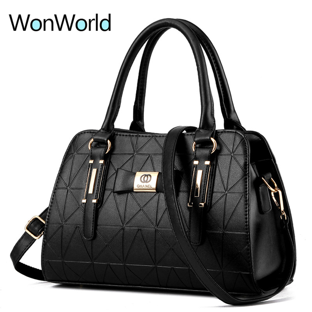 Wonworld Fashion Boston Women Handbag Top Handle Shoulder Bag Pu Leather Versatile Clutch Frame New