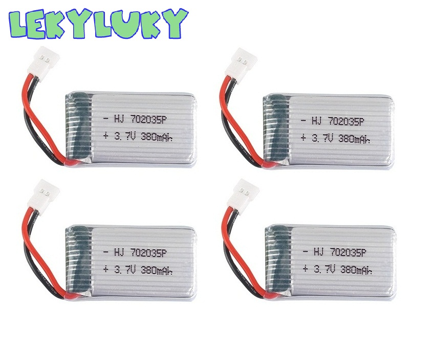 LEKYLUKY 4pc <font><b>3.7V</b></font> <font><b>380mAh</b></font> 25C <font><b>Lipo</b></font> <font><b>Battery</b></font> Spare Replacement for For X4 H107 H107L H107D JxD385 JxD388 RC Aircraft Multi-Rotors image