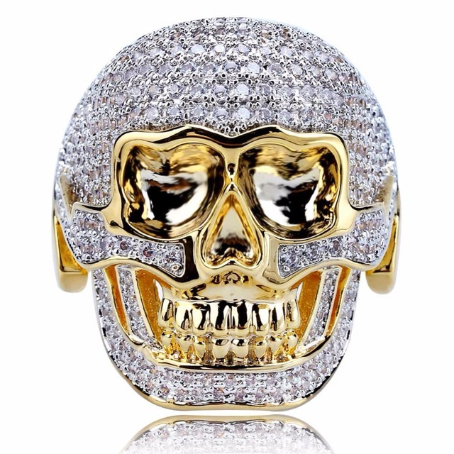 Retro Skull Mask Men Domineering Gold Ring Micro Inlay The Cubic Zircon  Tide Guy Hip-hop Punk Ring Fashion Gift Jewelry 5df41a3283a8