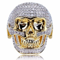 Retro Skull Mask Men Domineering Gold Ring Micro Inlay The Cubic Zircon Tide Guy Hip hop Punk Ring Fashion Gift Jewelry