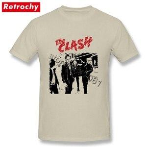 Image 1 - Büyük boy Bant Beyaz clash Gömlek Mens Benzersiz Kısa Kollu Pamuk Erkekler T Shirt Toptan Vintage Tarzı Merch Giyim