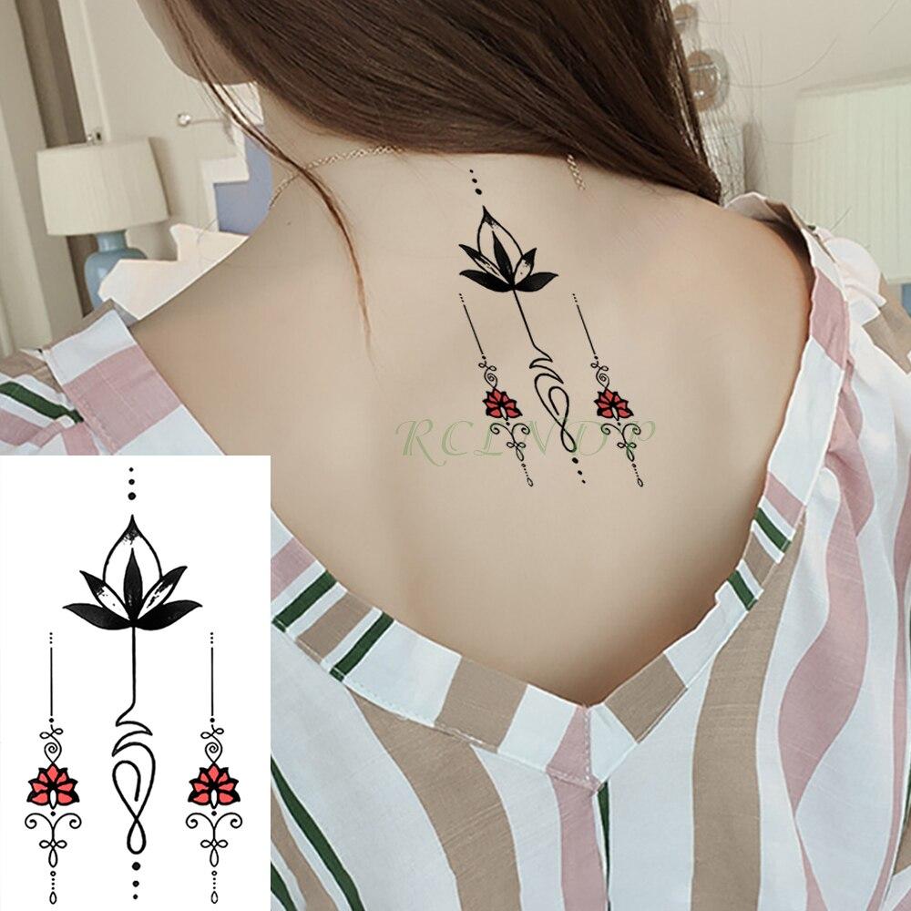 Waterproof Temporary Tattoo Stickers Lotus Totem line Flower Fake Tatto Flash Tatoo Tatouage Hand Back Foot for Girl Women Men line art