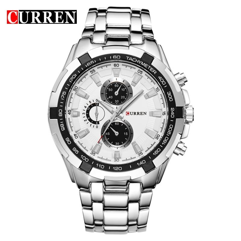 CURREN zegarki mężczyźni Top marka luksusowa moda i Casual zegarki kwarcowe męskie klasyczne analogowe sportowe pasek stalowy zegar Relojes 3