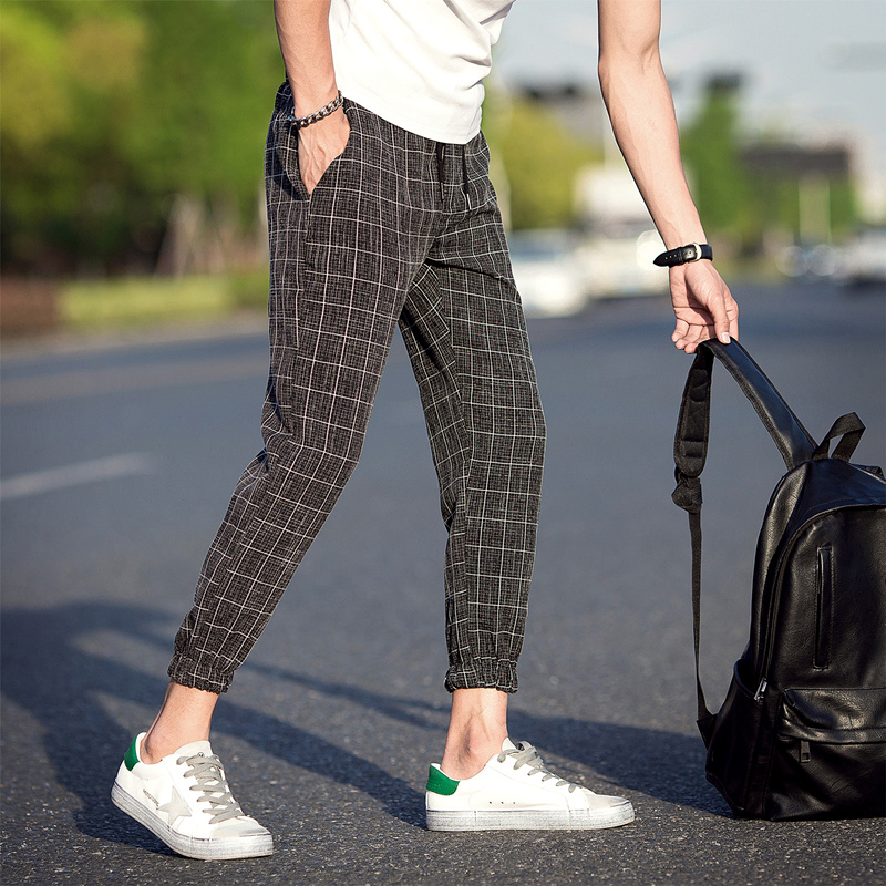 2019 New Style Fashion Male Autumn Comfortable Casual Pants/Men's High Quality Grid Elastic Waistline Haroun Pants Size S-5XL