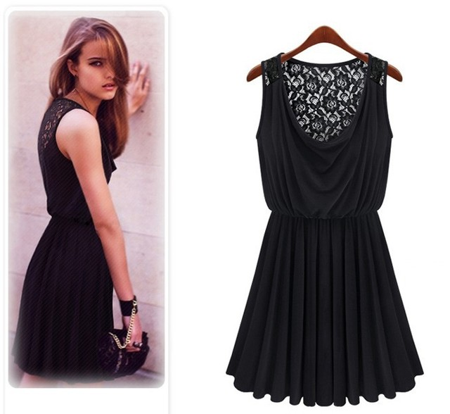 A1162 2017 new Promotions trendy  fashion women clothes casual sexy lace dress sleeveless retro sultry vestidos