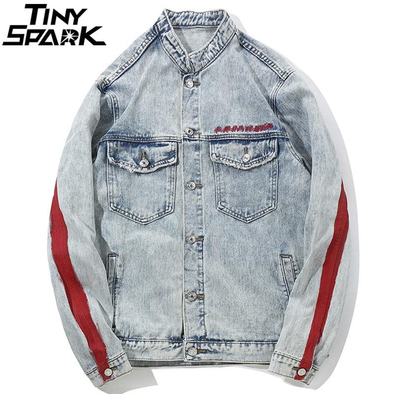 Harajuku broderie Dragon veste Jeans Streetwear Hip Hop hommes Vintage lavé veste en jean 2018 automne rouge rayé vestes en Denim-in Vestes from Vêtements homme    2