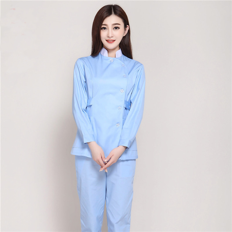 Fashion Stand Collar Winter Long Sleeve Medical Nurse Uniforms Hospital Beauty Salon Pharmacy Dental Clinic Workwear Overalls