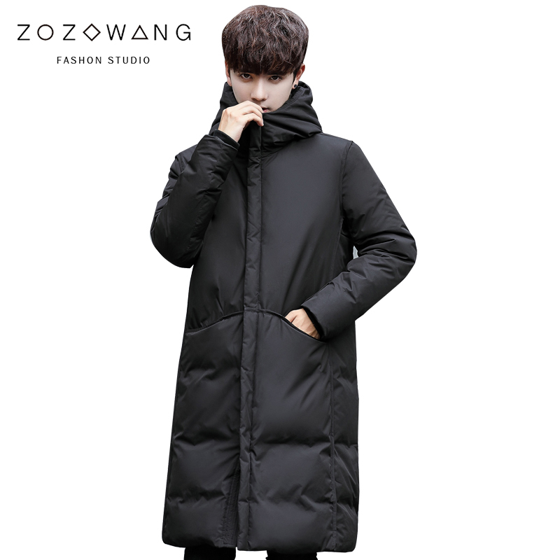 new 2018 New thick winter mens white down Jacket brand clothing hooded black Gary long warm duck coat male coats