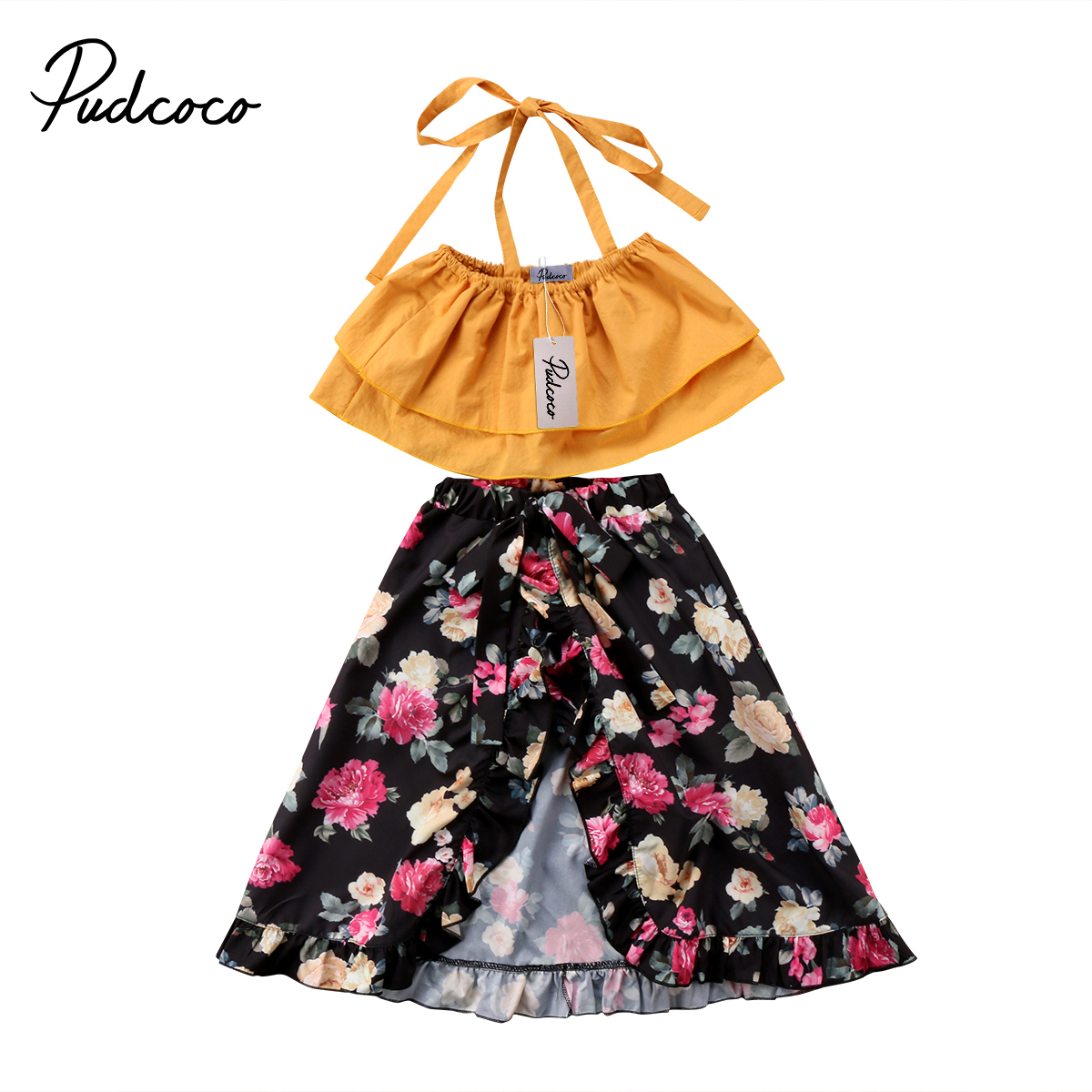 Pudcoco Adorable Toddler Baby Kids Girls Floral Clothing Sets Crop Tops + Flower Skirt 2Pcs Outfits Set