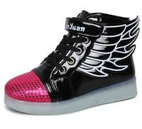 Children Shoes With Light Up Sneakers For Kids Girls Boys USB Charging Sole Luminous Led Sneakers enfant Light Shoes With Wings