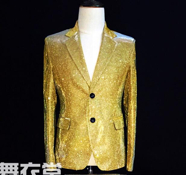 e966f6054f S-5XL 2019 New Men's gold color gradient glitter suit performance Blazers  coat formal dress singer costumes clothing Men Suits