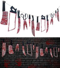 METABLE 24PCS Bloody Weapons Garland Props - Halloween Zombie Vampire Party Decorations Supplies