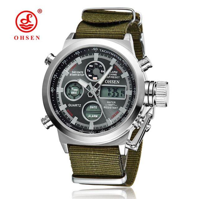 OHSEN 2016 NUEVOS de Primeras Marcas de Los Hombres de Lujo Relogio masculino Relojes Militares LED Digital de Cuarzo Deportes Al Aire Libre Reloj Con