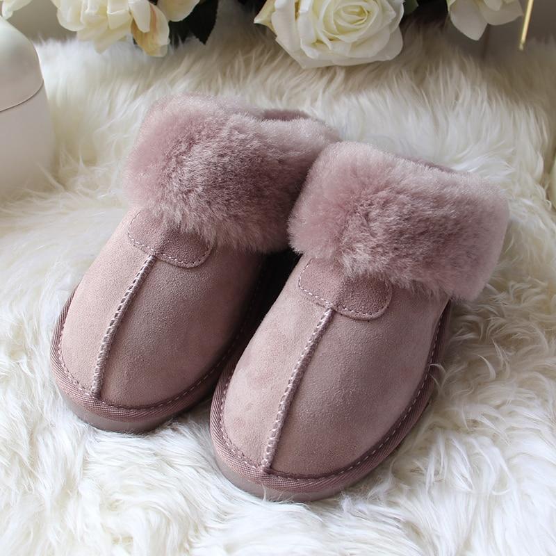 Top Qualité Naturel fourrure en peau de mouton Pantoufles Mode Féminine chaussons d'hiver Femmes chaussons d'intérieur douillets laine douce Maison de Dame Chaussures