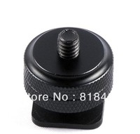 whole sale 1/4 Inch Two Nut Mount Adapter For Tripod Screw And DSLR Camera Flash Hot Shoe 100pcs/lot Free Shipping