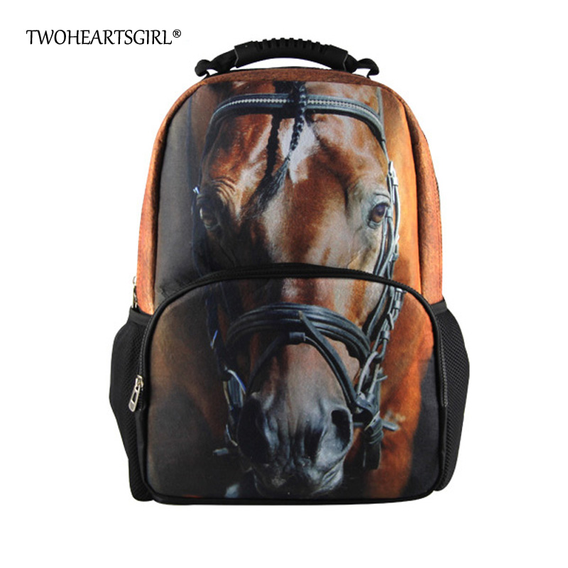 TWOHEARTSGIRL Cool Teen Boys Girls Backpack 3D Animal Crazy Horse School Backpack for Men Unique Women Travel Backbag Durable