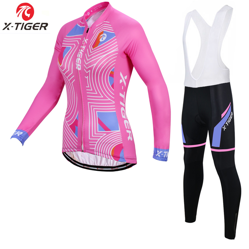 X Tiger Women Spring Pro Cycling Jersey Set Anti UV MTB Bicycle Wear Ropa Ciclismo Cycling