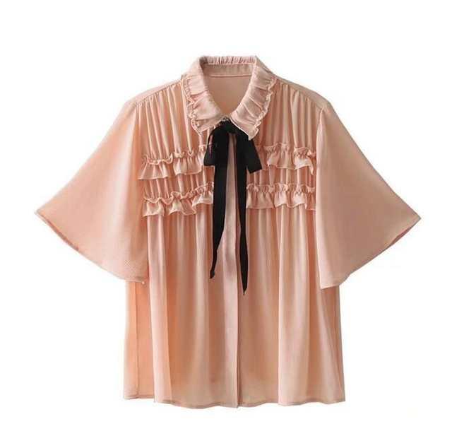 7ffdeb6b7dc5 € 15.02 |Toppies 2019 mujeres Rosa Nude Color manga corta Blusa de gasa  para las mujeres estilo Poncho mujer volantes camisa con lazo en Blusas y  ...