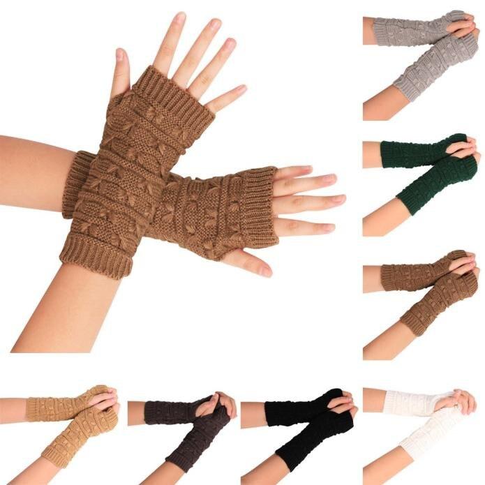 Otoño Invierno mujeres Guantes moda muñeca brazo calentador tejer ...
