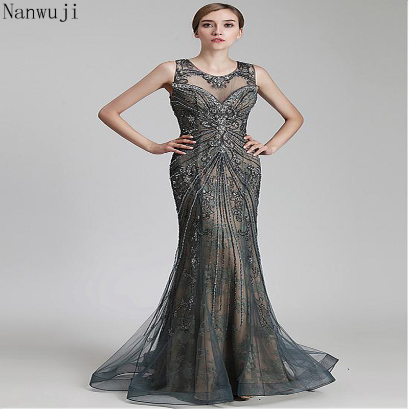 c659da59d06 In Stock Gorgeous Tulle   Lace Scoop Neckline Mermaid Formal Dress With Beadings  Evening Gown Evening Dress Sleeveless-in Evening Dresses from Weddings ...