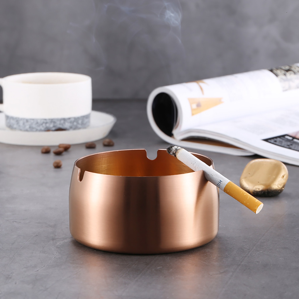 Image 4 - Creative Stainless Steel High Temperature Drop Resistant Ashtrays Round  Living Room Desk Office Desk Ash Storage Tray Box-in Ashtrays from Home & Garden