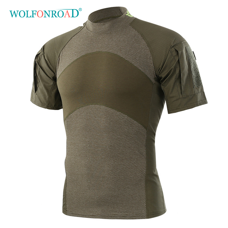 WOLFONROAD Men Summer Outdoor Hiking Camping T-Shirts Tactical Army Green Sport Tees Short Sleeve Military Camouflage T-shirts grid hollow design t shirts in army green