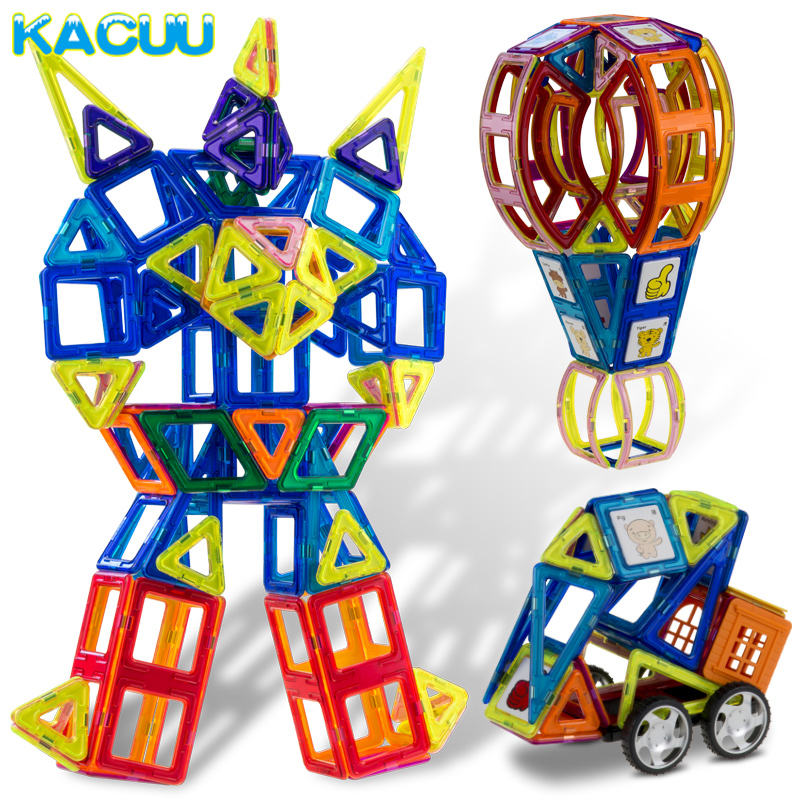 150PCS Big Size Constructions Magnetic Blocks Building 3D DIY Toy with Animal & Car-styling Educational Game Toys For Children t3184b educational toy coin slide chip game toy playing toy set