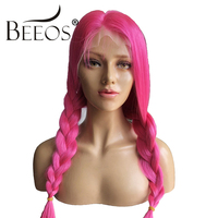 Pink Red Lace Front Human Hair Wigs for Women Brazilian Remy Hair Straight Long Wig Colorful Free Part PrePlucked Bleached Knots