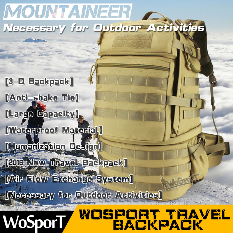 WOSPORT 2016 New Travel Mountaineering font b Backpack b font Outdoor font b Tactical b font