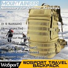 WOSPORT 2016 Nuevo Viaje Alpinismo Mochila Al Aire Libre Táctico Bolsa De Nylon de Gran Capacidad de 3 P Caza Escalada Senderismo Packsack