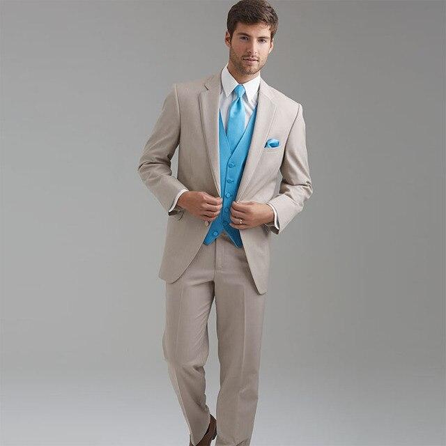 Champagne Tuxedos Beige Groom Tuxedo Notch Lapel Men Wedding Suit ...