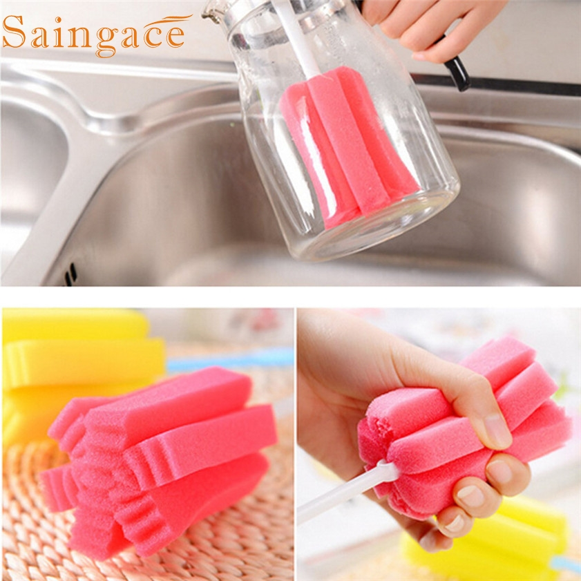 Zero 1 PC Kitchen Cleaning Tool Sponge Brush For Wineglass Bottle Coffe Tea Glass Cup
