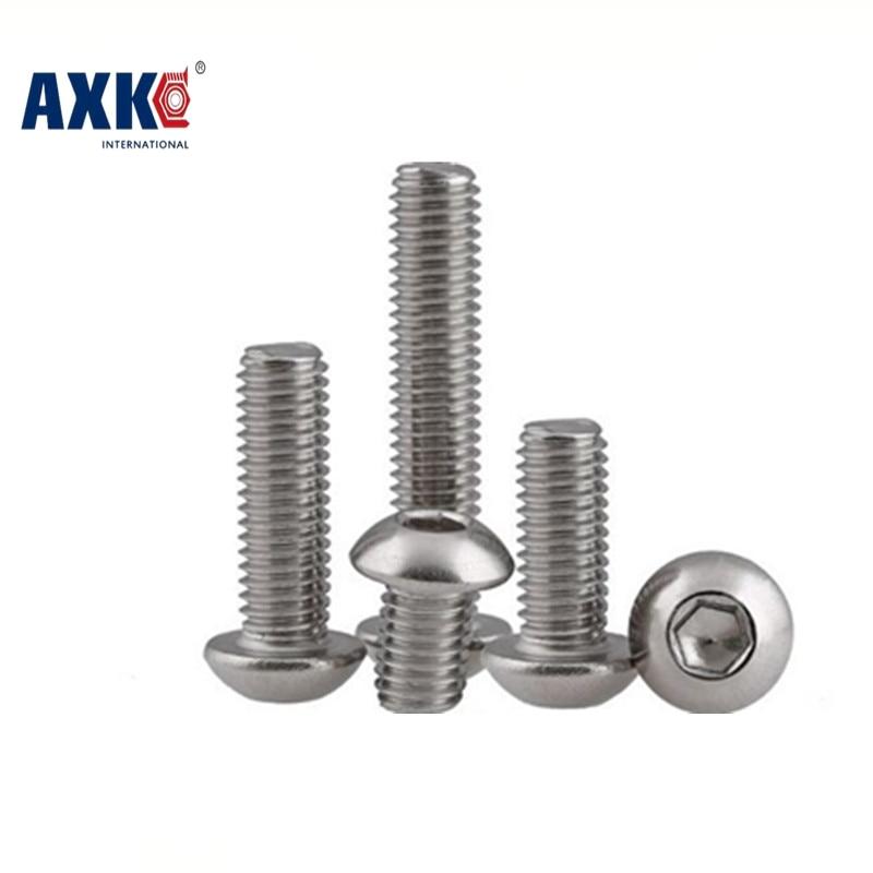 2018 Real Vis 10pcs M4*30/35/40/45 Iso7380 304 Stainless Steel A2 Round Head Screws Mushroom Hexagon Socket Button Screw Axk43