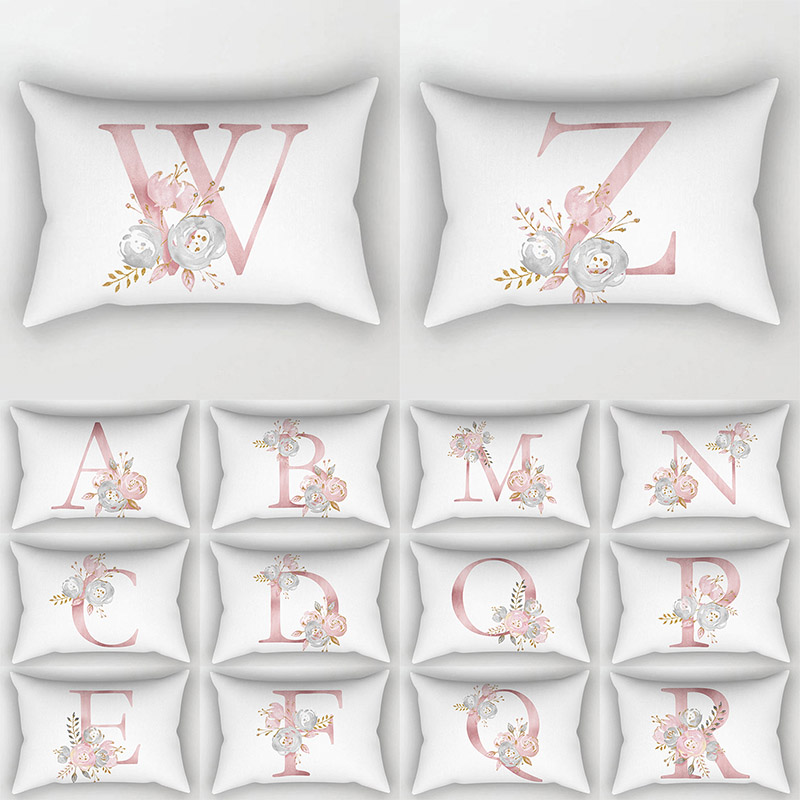 1PC High Quality 26 Letter <font><b>Pillow</b></font> <font><b>Case</b></font> Flowers English Alphabet Cushion Cover Sofa Home Decoration 30*50cm image